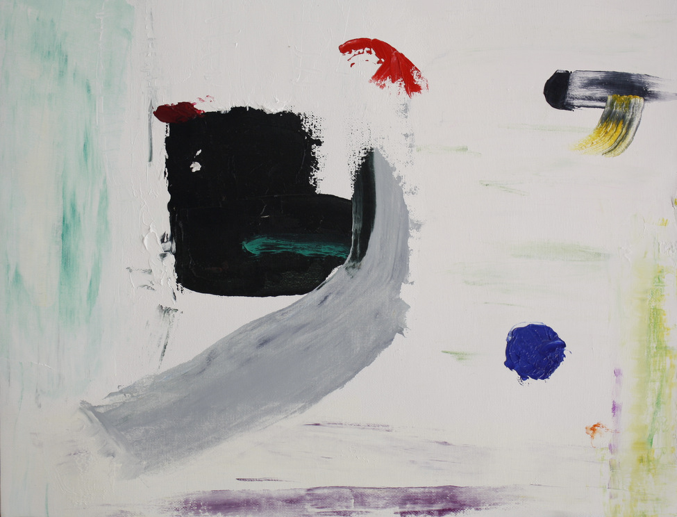 Abstract. Large square with projection roughly in centre intercepted by grey upthrust. Streaks of green and purple at edges. Red spots and black and yellow. Blue circle in lower left quadrant.