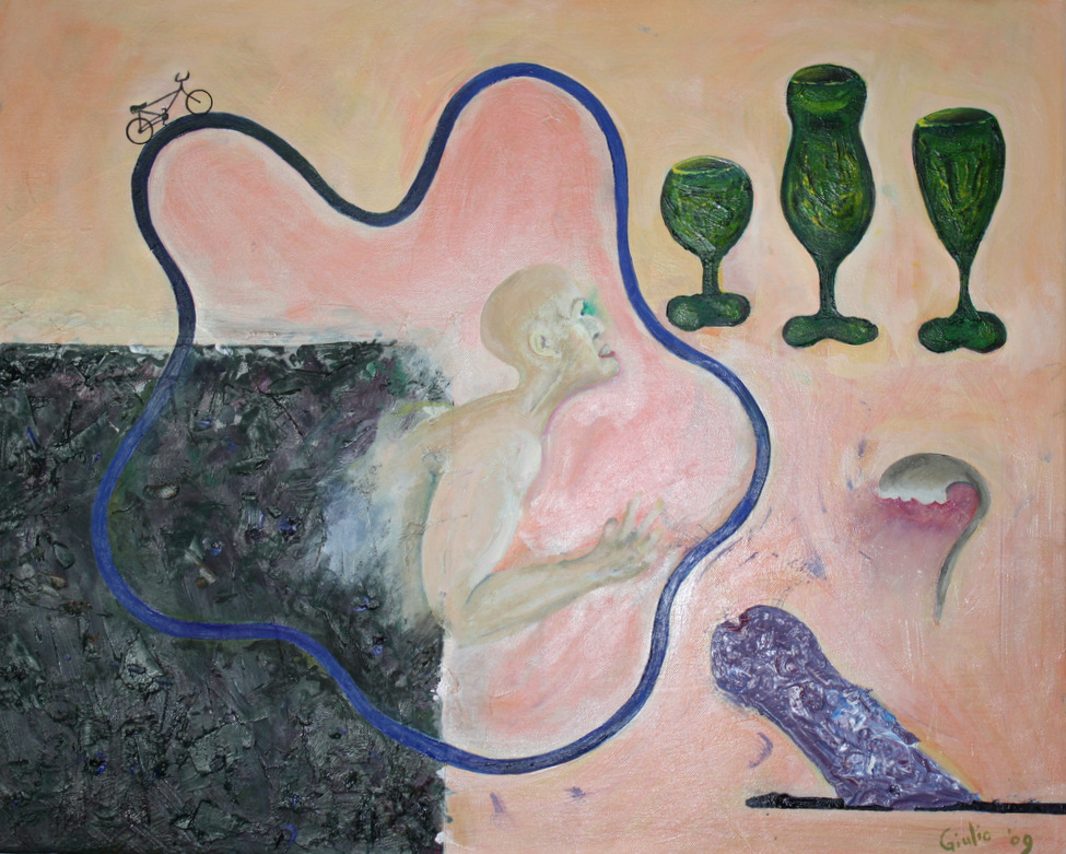 Torso of a man coming up out of a black block, surrounded by a wavy blue road with a bicycle on it. He looks up at 3 green vases of different shapes. To his lower right is a pointing penis.