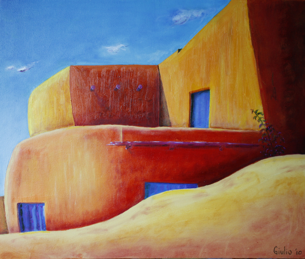 Adobe house in the desert - blue skies, doors and windows. Small green plant in the front at right. Violets, orange and yellows