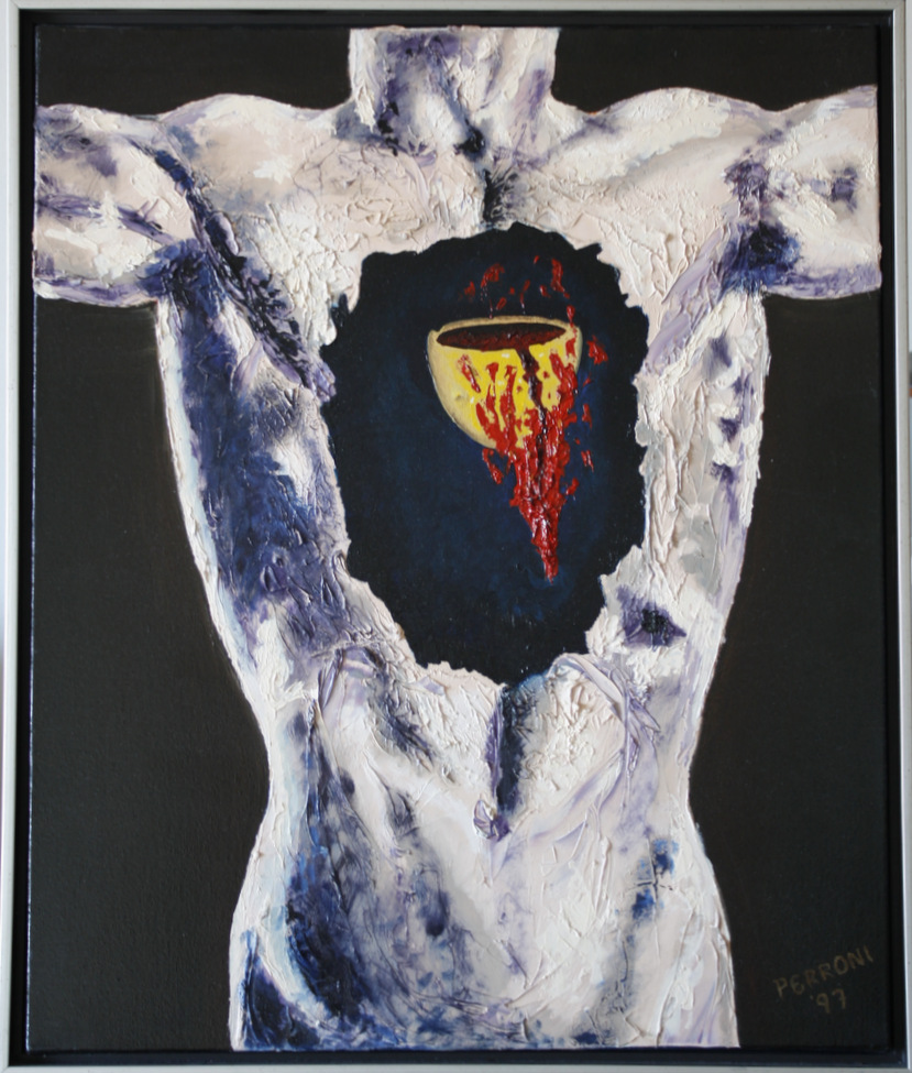 Human torso in grey, shadows in purple. The chest has a cavity but instead of a heart, there is a broken cup with blood pouring out, but the blood is consumed with fire which will heal the cup.