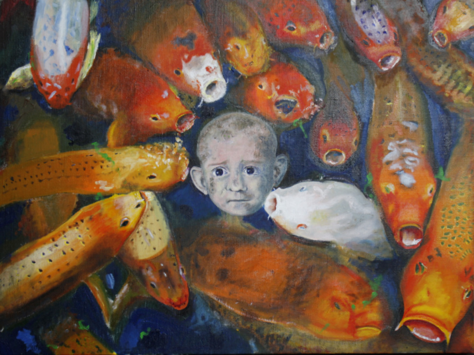 A school of large goldfish, bumping into one another. In the centre is a child's face with a complex expression on its face