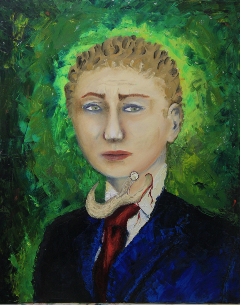 Man in blue suit and red tie. Background is green, reminiscent of a forest. A stag horn is sticking out of his throat shedding blood. Symbolizes the necessary death of the personality in order to become a man.