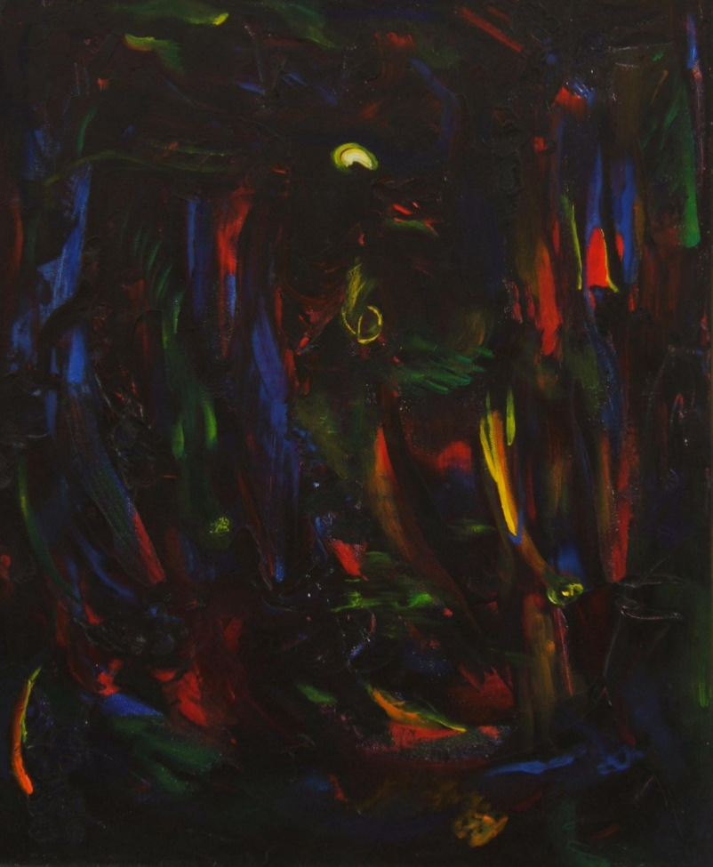 Abstract. Dark background with bright colours appearing out of it and jostling together. Easy to imagine a forest image.
