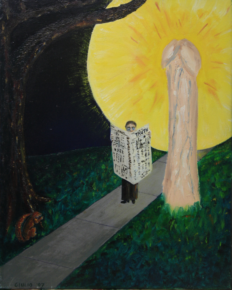 Night scene of man reading a newspaper by a penis lampost called TRUTH, Standing by a lampost in the shape of a penis surrounded by a sun of light. In the left foreground is a tree with a squirrel at the bottom looking at the man.