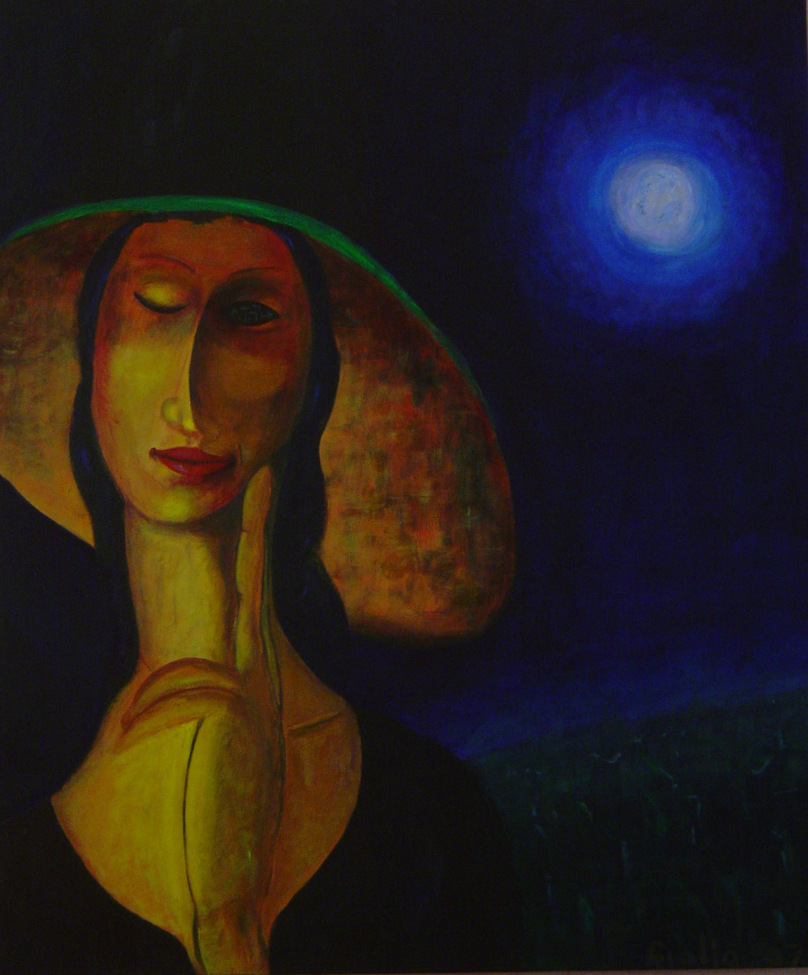 surreal portrait of Feminine. A woman (like in a Modigliani painting) tall hat with surreal eye, one closed, in reflecting pose, hand to chin. Night scene. Grassy field as background with bright Moon Acrylic on canvas.
