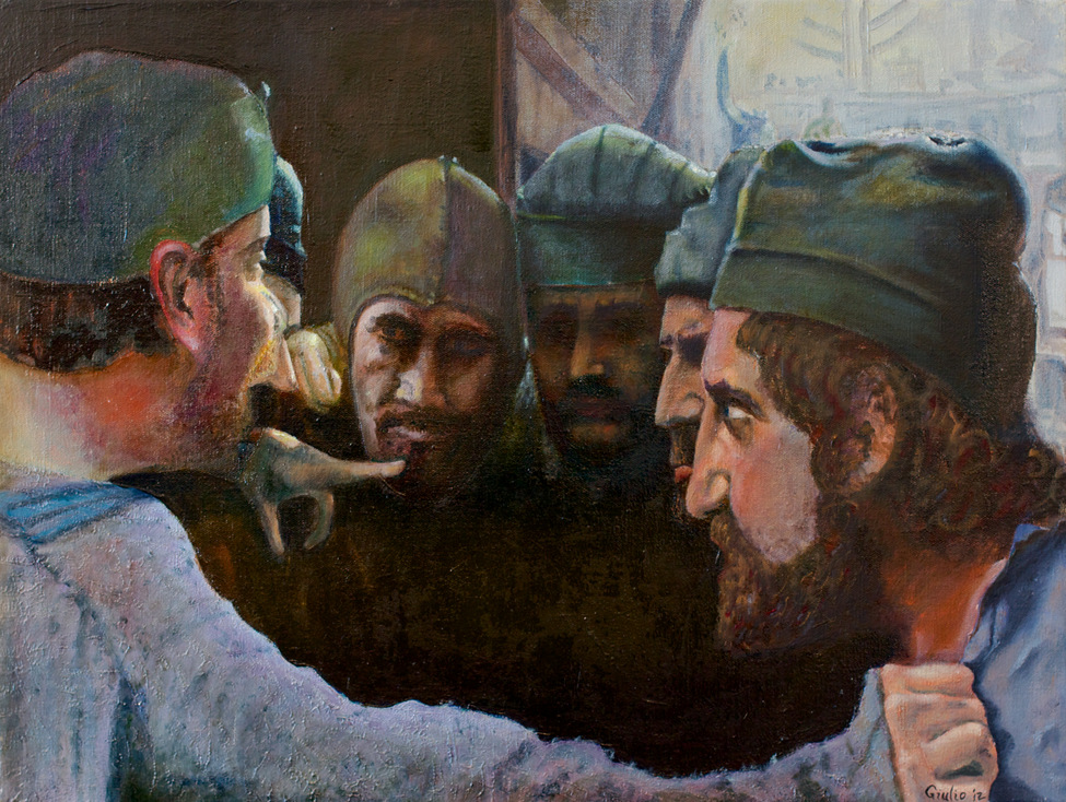 Group of men in a huddle listening to one man exhorting