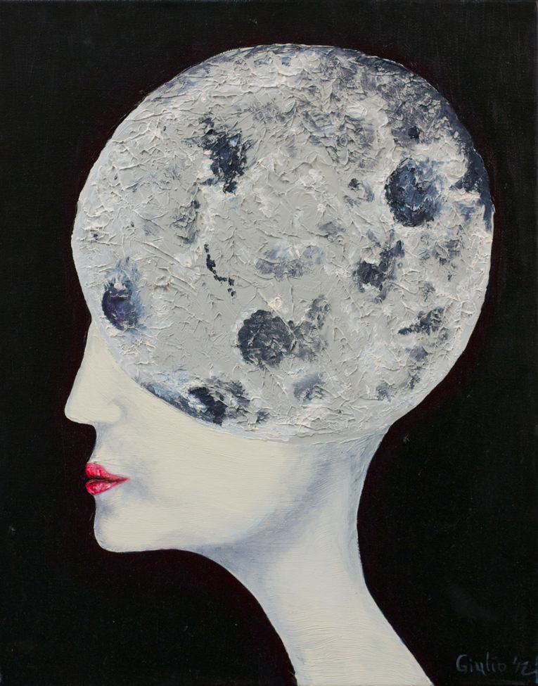Profile of woman with moon as her head