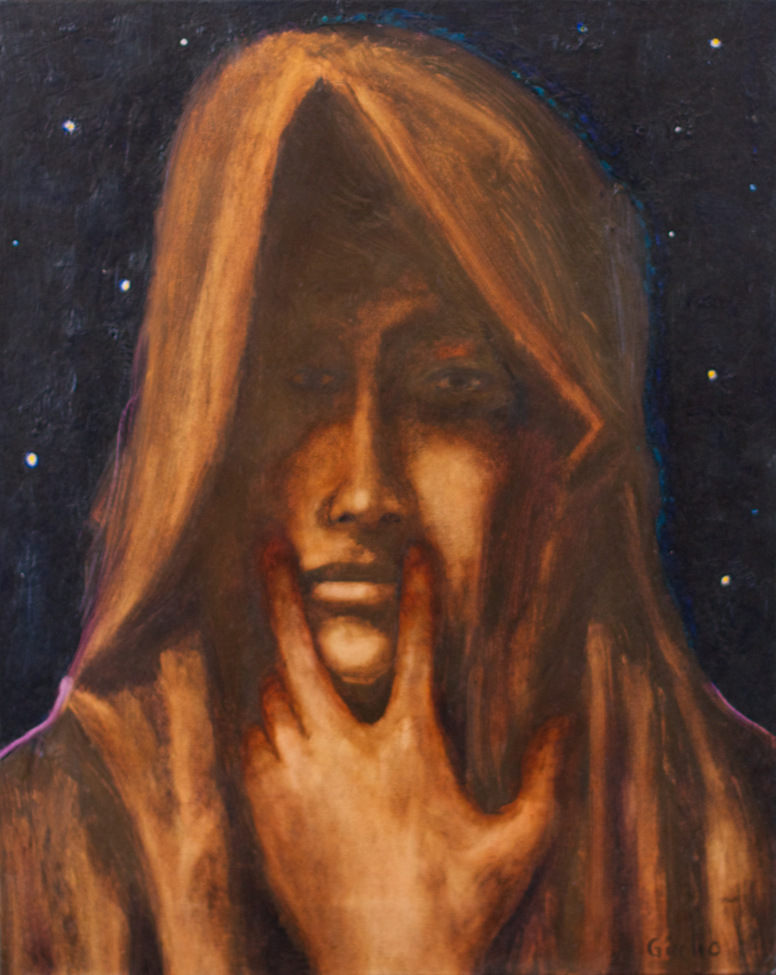 Hooded man with hand to face. Sepia tones with starry night background.