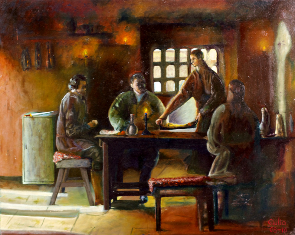 Family dinner, rural/old times. Sword in left background. Three main light sources: candles, sunlight through a window, morning light through a door.