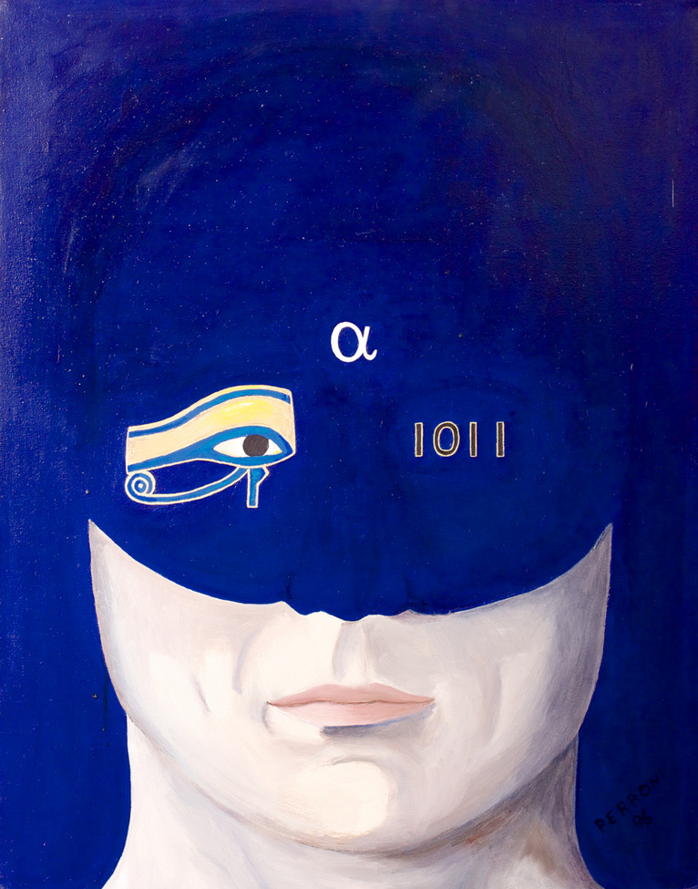 Lower face, the mouth with Egyptian Eye of Horus and 1011 as eyes, and an alpha as the third eye