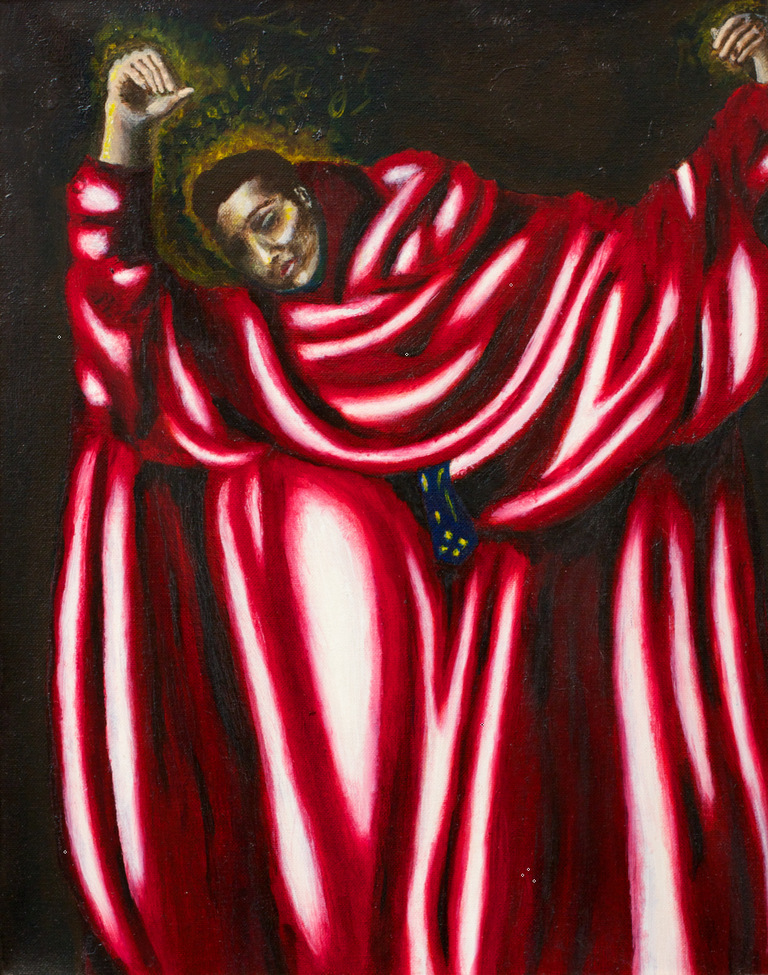 man in red robes, arms raised