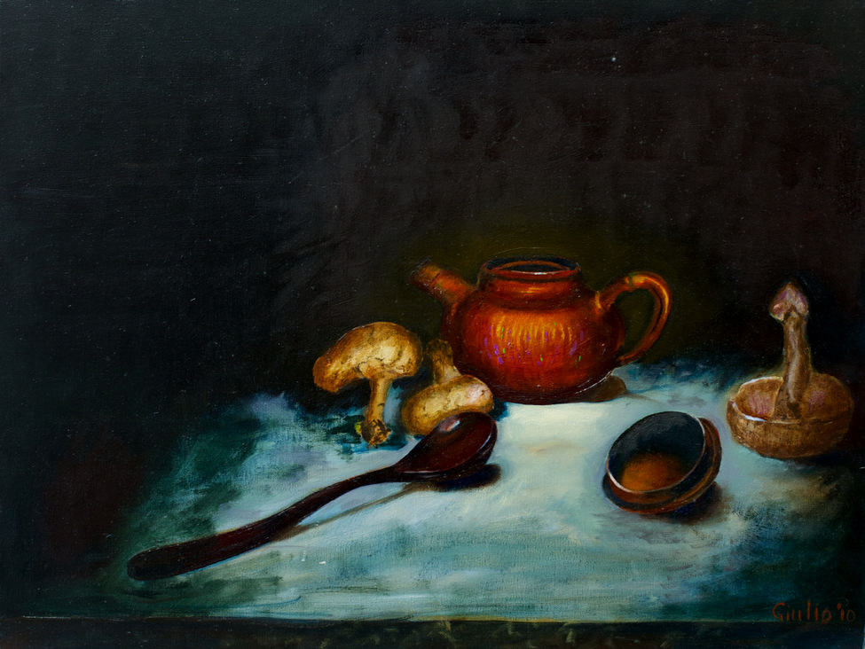 Tea pot, lid, spoon, and mushrooms on a table. Sexual connotations