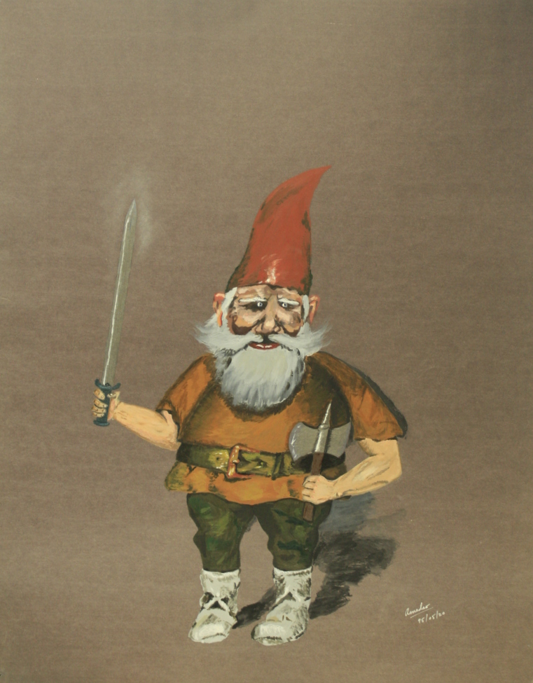 dwarf holding a sword and axe, red cap, bright eyes