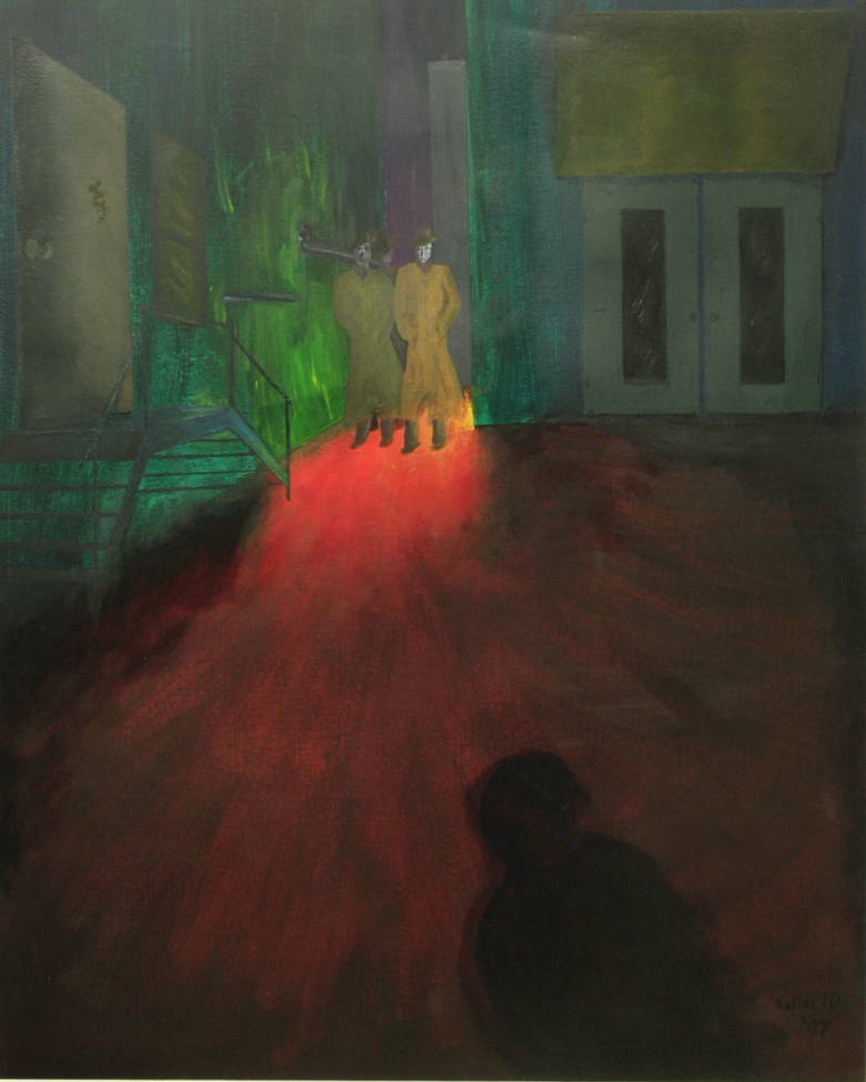 night scene, shadow of person in foreground, 3 mysterious figures in background by an open lighted doorway