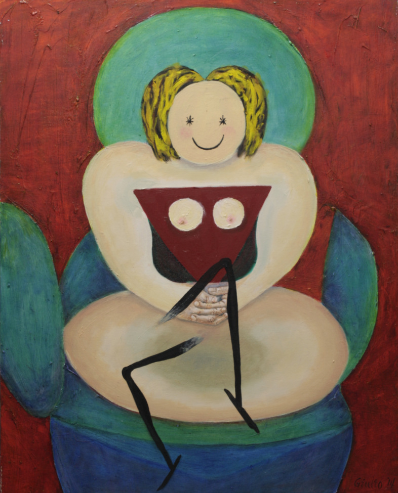 seated surreal woman, smiling at viewer, green/blue easy chair breaking up, woman has legs ready to go, red triangle chest