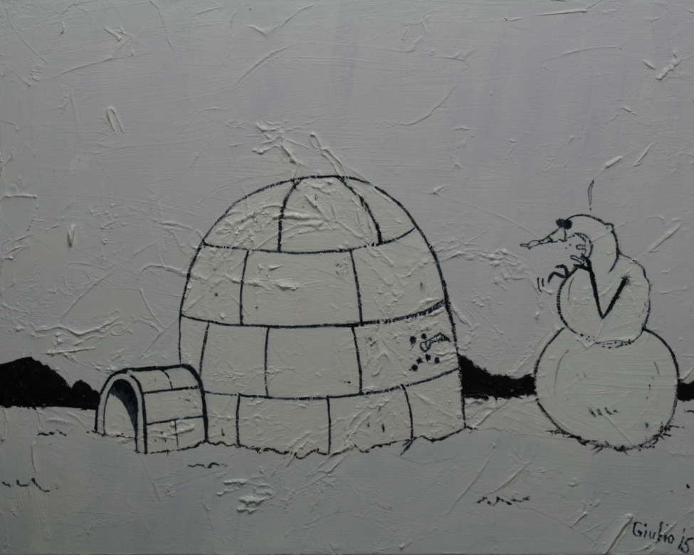 snowman looking aghast at an igloo made of a friend, a cartoon, different shades of white