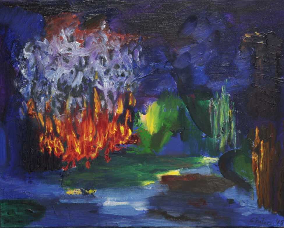 abstract, largely blues and greens with red and yellow in one area, looks like could be a forest fire