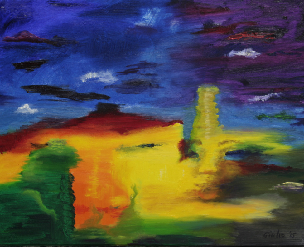abstract, blue purple upper half, green, yellow orange and red lower half, containing possible faces