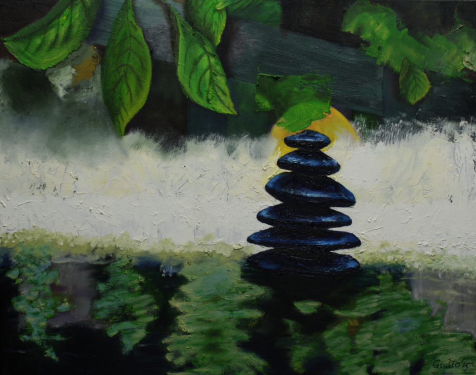pile of blue-black stones in water with overhanging leaves, semi-abstract